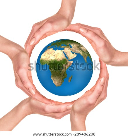 The concept of protecting the world. Elements of this image furnished by NASA - stock photo