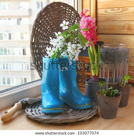 The concept of spring gardening on the balcony - stock photo