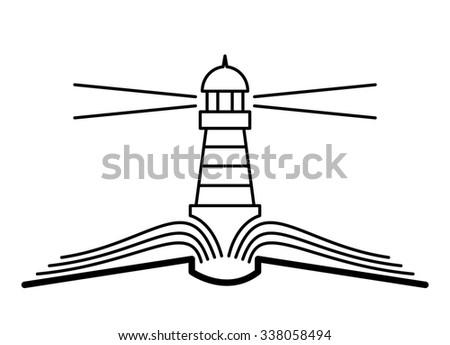 The concept of the book and lighthouse. - stock photo