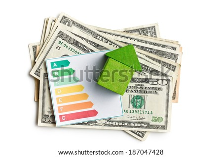 the concept of the house energy saving - stock photo
