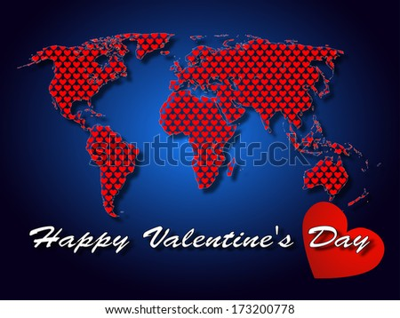 The concept of the world for Valentine's Day/World on Valentine's Day  - stock photo