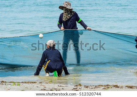 The concept of unity of fishermen, fishing, trawlers, nets, beach  ,  Fishing Nets