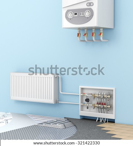 The concept of warm floor in a room with a wall-mounted boilers and radiators. Heating - stock photo