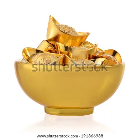 The concept of wealth , bowls and gold ingots  - stock photo