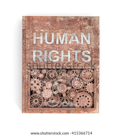 The concept rusty metal books on human rights. 3d illustration.
