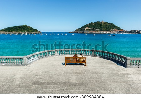 The Concha Promenade in San Sebastian, Spain - stock photo