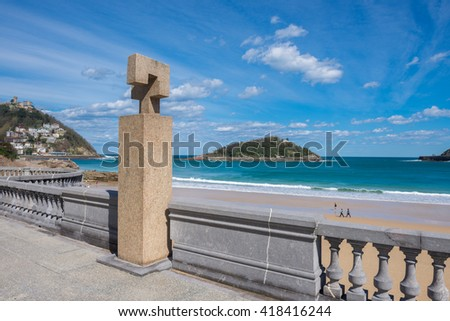 The Concha Promenade with Fleming monument in San Sebastian, Spain - stock photo