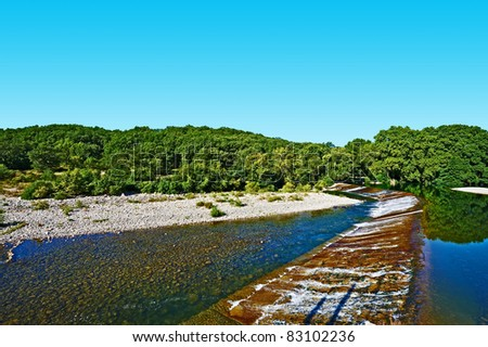 The Concrete Dam on the River Herault, France - stock photo