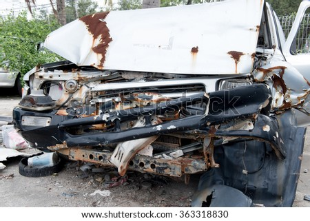 the condition of the car was demolished after the accident collided violently