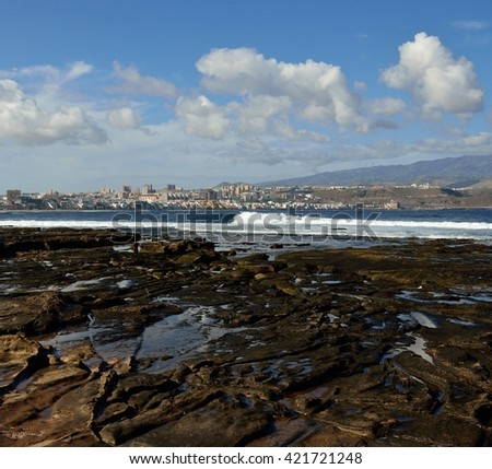 The Confital beach and Las Palmas city, Gran canaria, Canary islands
