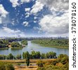 The confluence of the Sava and Danube river in Belgrade, Serbia - stock photo