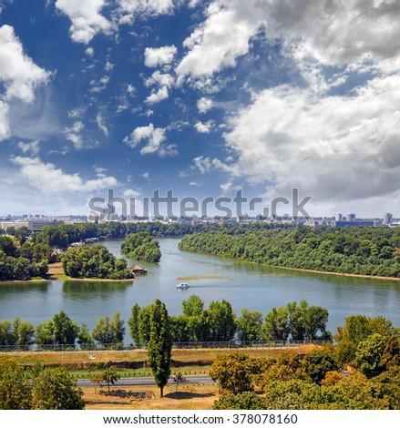 The confluence of the Sava and Danube river in Belgrade, Serbia - stock photo