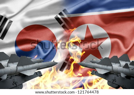 The confrontation between South Korea and North Korea - stock photo