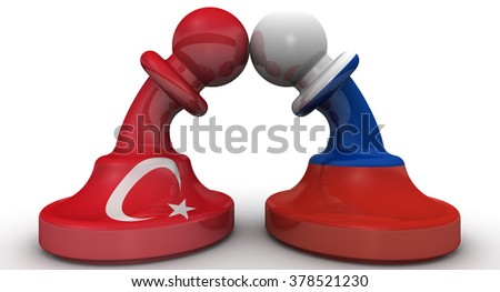 The confrontation between the Russian Federation and Turkey. Chess pieces on the board - pawns in the colors of flags of Russia and Turkey bent to each other - stock photo