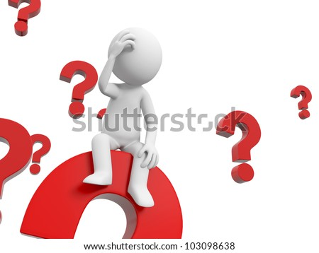 The confused/3d people is thinking in a pile of question marks - stock photo