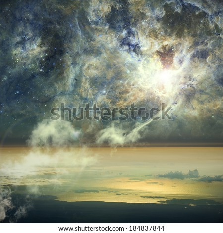 The connection between heaven and Earth. Clouds connect to a nebula in space. Elements of this image furnished by NASA.  - stock photo