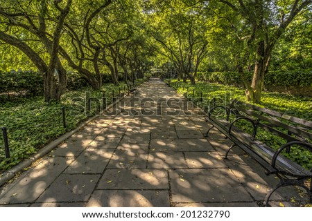 The Conservatory Garden is the only formal garden in Central Park, New York City - stock photo