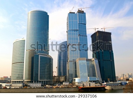the construction of Moscow-City business centre, Russia