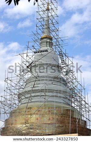 the construction of the pagoda of Wat Phra Singh, Vhiangmai, Thailand - stock photo