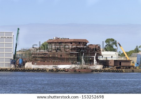 The construction of the ship in the shipyard Gdansk - stock photo