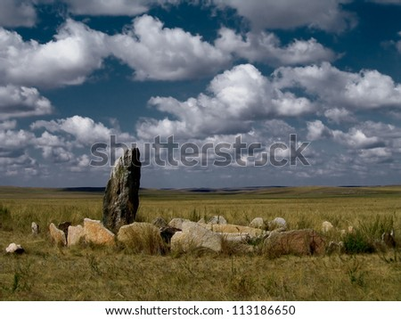 The construction of the stones in the Archaeological Museum of Arkaim - stock photo