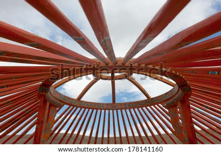 The construction of the yurt in the steppes of Mongolia - stock photo