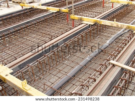 The construction site of new light rail rapid transportation system - stock photo