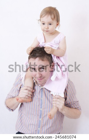 The content child plays with dad.