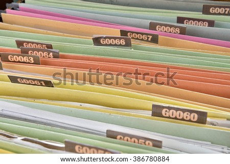 The contract document file filing cabinet,Search for Documents - stock photo