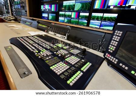 The control panel in the studio - stock photo