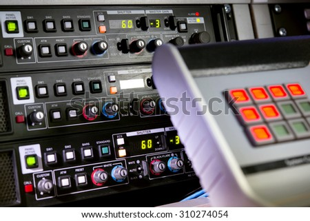 The control panel on the TV studio
