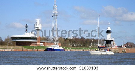 The control tower and the lock at entering the Kiel Canal in Germany, Brunsbuttel.