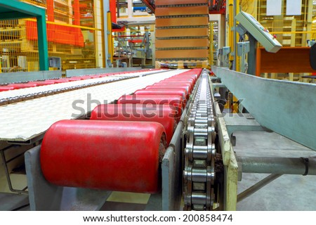 The conveyor line at factory - stock photo