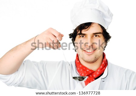 The cook with a ladle on a white background - stock photo