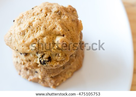 The cookies Stacked on white dish