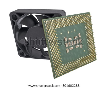 The cooling fan  and CPU on white background - stock photo