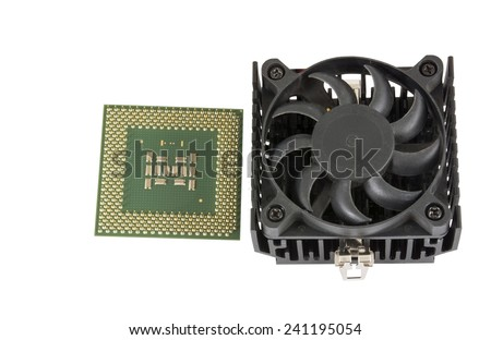 The cooling fan with heatsink and CPU on white background - stock photo
