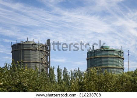 The Cooling Gas Tower for power plant in China - stock photo