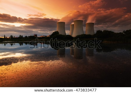 The cooling towers at sunset, nuclear power generation plant, Temelin, Czech Republic