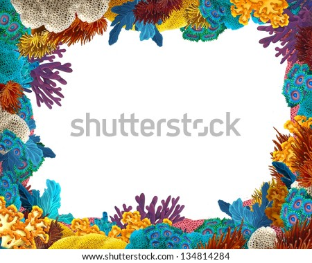 The coral reef - frame - border - illustration for the children - stock photo