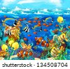The coral reef - illustration for the children - stock vector