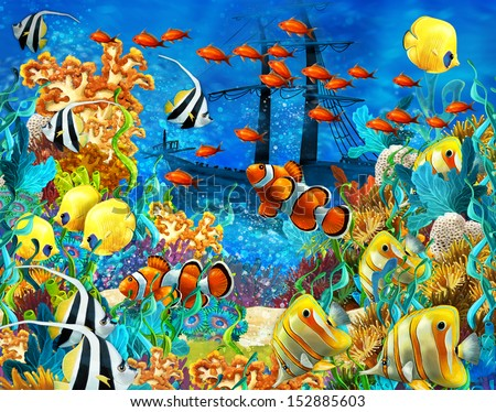 Underwater Scenery Drawing Stock Images, Royalty-Free ...
