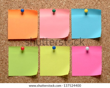 The cork board with blank notes - stock photo