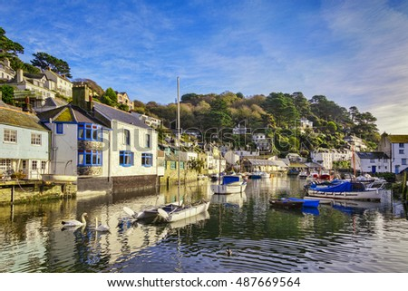 The Cornish fishing village of Polperro, one of the area's major tourist attractions. Photographed on a sunny October day.