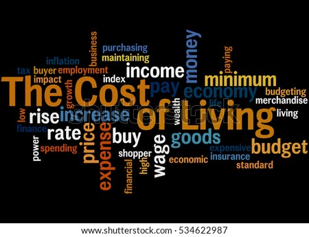 The cost of living, word cloud concept on black background.