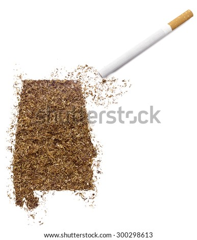 The country shape of Alabama made of tobacco and a cigarette.(series)