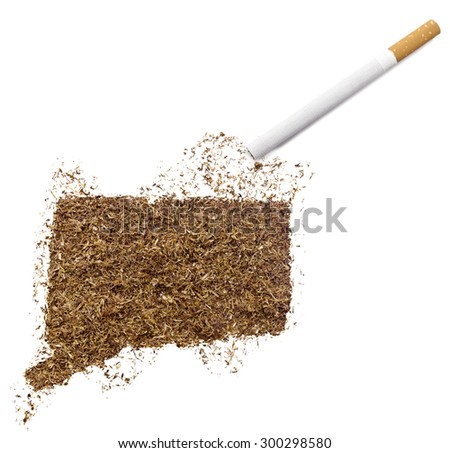 The country shape of Connecticut made of tobacco and a cigarette.(series)