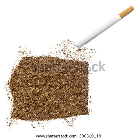 The country shape of Equatorial Guinea made of tobacco and a cigarette.(series)
