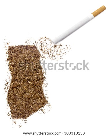 The country shape of Ghana made of tobacco and a cigarette.(series)