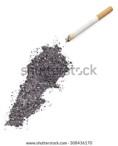The country shape of Lebanon made of tobacco ash and a cigarette.(series) - stock photo
